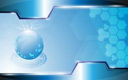 Kugel der abstrakten Wissenschaft, die auf blauem Hintergrund und Rahmen explodiert Lizenzfreie Stockbilder
