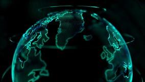 Kugel der Animations-4K mit Punktweltkarte-Elementdrehbeschleunigung für Cyber und futuristischem Technologiekonzept auf dunklem  stock video footage