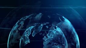 Kugel der Animations-4K mit Punktweltkarte-Elementdrehbeschleunigung für Cyber und futuristischem Technologiekonzept auf dunklem  stock footage