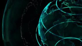 Kugel der Animations-4K mit Punktweltkarte-Elementdrehbeschleunigung für Cyber und futuristischem Technologiekonzept auf dunklem  stock video
