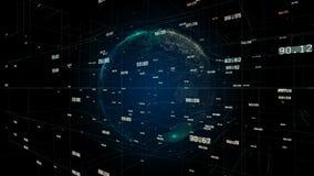 Kugel der digitalen Daten des Geschäfts 4k, wissenschaftliche umgebende Planetenerde des Datennetzes lizenzfreie abbildung