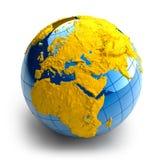 Kugel der Erde mit Entlastung Stockfotografie