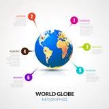 Kugel der Welt 3d mit den Zeigern infographic, Kommunikationskonzept Stockfoto