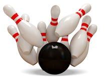 Kugel des Bowlingspiel-3d, die in die Stifte vom weißen Ba abbricht Lizenzfreie Stockbilder