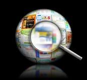 Kugel des Internet-site-Recherche-Schwarz-3D Lizenzfreies Stockbild