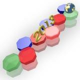 Kugel des Jahres 2013 und der Erde und Taste des Hexagons 3d Stockfotos