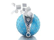 Kugel des Netzes 3d mit Reißverschluss Netz-Kommunikationskonzept Stockfotos