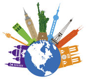 Kugel für Weltreise-Farbvektor-Illustration Stockfotografie