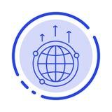 Kugel, Geschäft, Kommunikation, Verbindung, global, Linie Ikone der Weltblauen punktierten Linie vektor abbildung
