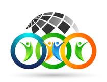 Kugel-Leuteverbands-Teamarbeit, die Symbolikonenelement-Logoentwurf des Glück Wellnessfeierlogos gesunden feiert stock abbildung