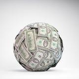 Kugel mit 100 Dollarscheinen Lizenzfreie Stockfotografie