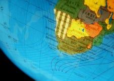 Kugel mit Afrika Stockfotografie