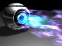 Kugel mit dem Strömen des hellen Dampfes Stockfotografie