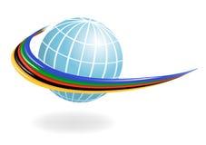 Kugel mit den Farben der fünf Kontinente. Vect lizenzfreie abbildung
