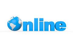 Kugel mit on-line-Text Lizenzfreie Stockbilder