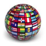 Kugel mit Weltmarkierungsfahnen Stockfoto