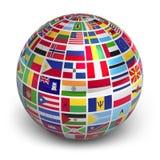 Kugel mit Weltmarkierungsfahnen Stockbild