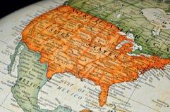 Kugel oder Karte von Vereinigten Staaten Lizenzfreies Stockfoto