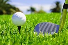 Kugel und Golfclubs stockfotos