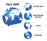 Kugel und Karte der Welt Lizenzfreies Stockfoto
