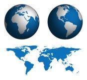 Kugel und Karte der Welt Stockfotos