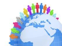 Kugel und Leute. Erde und Weltkarte. 3d Lizenzfreie Stockfotografie