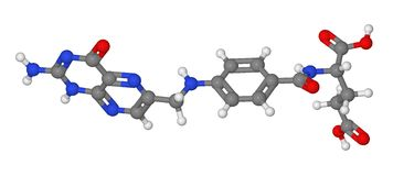 Kugel- und Steuerknüppelbaumuster des Moleküls der Fol- Säure Stockfotos