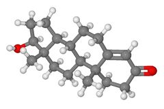 Kugel- und Steuerknüppelbaumuster des Testosteronmoleküls Stockbild