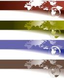 Kugel- und Weltkartenfahnen Stockfotografie