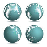 Kugel-Weltkartestreifen Stockfoto