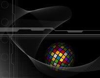 Kugelförmige farbige Quadrate auf schwarzem Geschäftshintergrund entwerfen Stockbild