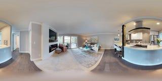 kugelförmige 360 Grad der Illustration 3d, ein nahtloses Panorama des Wohnzimmers stockfoto