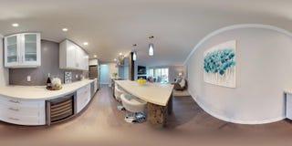 kugelförmige 360 Grad der Illustration 3d, ein nahtloses Panorama der Küche lizenzfreie stockfotografie