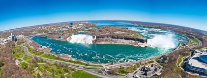 Kugelförmiges genähtes Panorama des Niagara Falls Lizenzfreies Stockbild