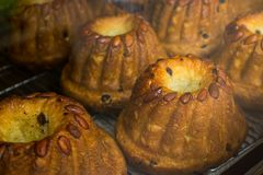 Kugelhopf Cake with almonds and raisins Royalty Free Stock Photo