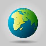 Kugelikone mit Vektorschatten und Karte der Kontinente der Welt Stockfoto