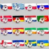 Kugelmarkierungsfahnen, Euro 2012 teilnehmende Teams Lizenzfreie Stockfotografie