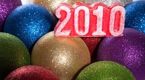 Kugeln 2010 des neuen Jahres Stockbild