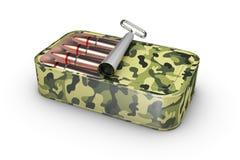 Kugeln in der Blechdose lokalisiert auf weißem Hintergrund Unfired-Munition, Illustration 3d Stockbilder