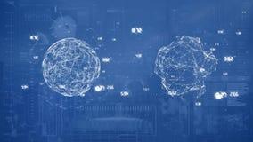 Kugeln gegen Technologieschnittstellenhintergrund lizenzfreie abbildung