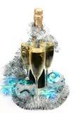 Kugeln und Champagner des neuen Jahres Stockfotografie