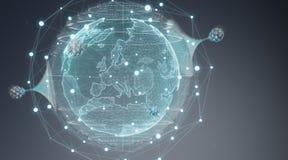 Kugelnetzhologramm mit digitaler Wiedergabe der Verbindung 3D Lizenzfreies Stockbild