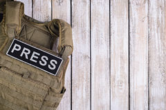 Kugelsichere Weste für Presse stockbilder