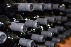 Kuggar med flaskor av vin i de mörka källarna av vinodlingen Arkivbilder
