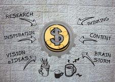 kugge 3D om pengar med diagram- och väggbakgrund Fotografering för Bildbyråer