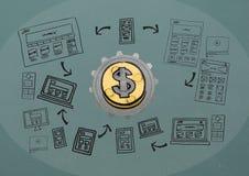 kugge 3D om pengar med diagrammet om blogging Royaltyfria Foton