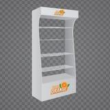 Kugge för skärm för golv för papp för vektorpos. POI Glass för supermarket royaltyfri illustrationer
