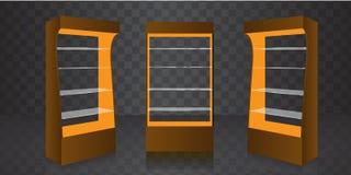 Kugge för skärm för golv för papp för pos. POI Glass för supermarket Tomma exponeringsglashyllor också vektor för coreldrawillust royaltyfri illustrationer
