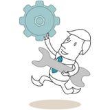 Kugge och skiftnyckel för rinnande affärsman bärande stock illustrationer