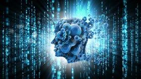 Kuggehuvud med kodteknologimanöverenheten stock illustrationer